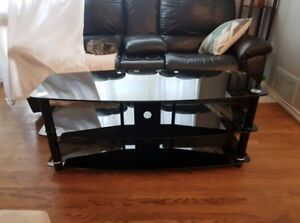 TV GLASS TABLE STEEL STRUCTURE WITH 3 SHELVES