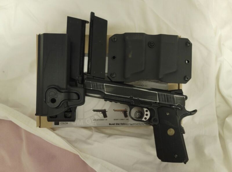 Socom 1911 GBB Airsoft Pistol, 2 Standard Green Gas Magazine…