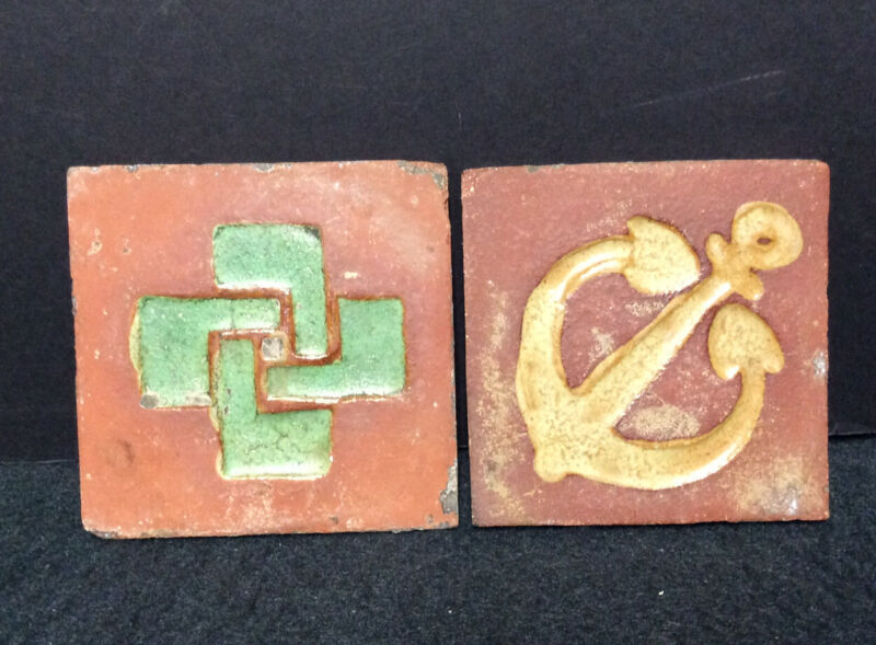 "Two(2) Unmarked 4""Grueby Tiles"
