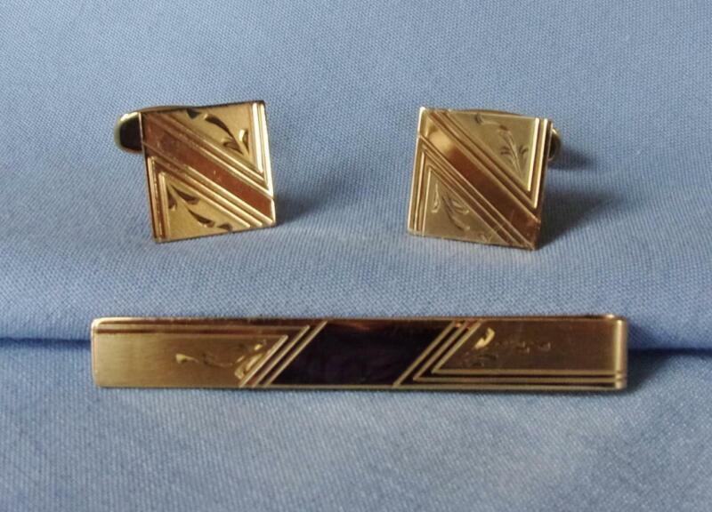 Vintage SIMMONS 1/20 12K GF Tie Bar & Cuff Links, Art Deco Diamond Cut Design