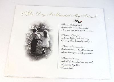 New Kim Anderson This Day I Married My Friend Wedding Marriage Poem