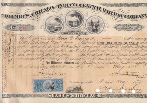 Columbus Chicago & Indiana Central Railway Company 100 Shares Stock Certificate