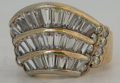 Fine large big sterling silver Gold plate modern cluster CZ ring, signed unique