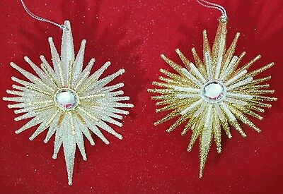 "Star Gold Silver Christmas 5.5"" Glitter Jewel Acrylic Ornament Set 2 Kurt Adler"