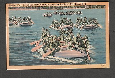 unmailed post card landing party in rubber boats Camp Le Jeune Marine Base NC