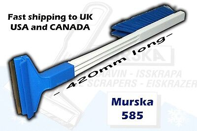 Murska 585 - Long Ice Scraper with brush, brass edge - Made in Finland the