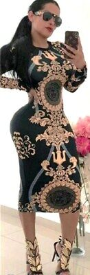 European Designer Retro Style Black/Camel Baroque Medusa Print Spandex Dress M](Medusa Dresses)