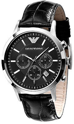 Emporio Armani Classic Black Leather/Silver Quartz Analog Men's Watch AR2447