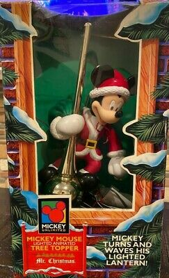 WORKS! Vintage Disney Mickey Mouse Lighted Animated Tree Topper Mr. Christmas