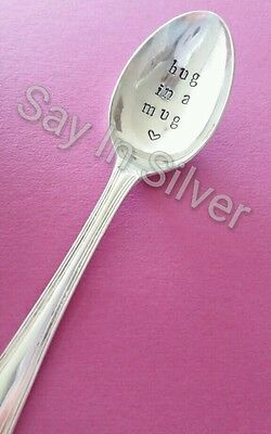 tea spoon-vintage silver plated personalised hand stamped unique christmas gift.