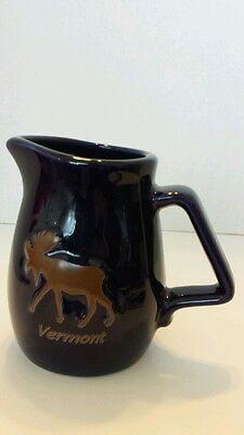 Moose Ceramic Pitcher Vermont Souvenir Logo Maple Syrup Cobalt Blue