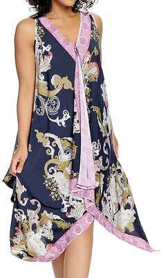 NEW - One World Printed Knit Sleeveless Handkerchief Hem V-Neck Scarf - Dress Handkerchief Hem