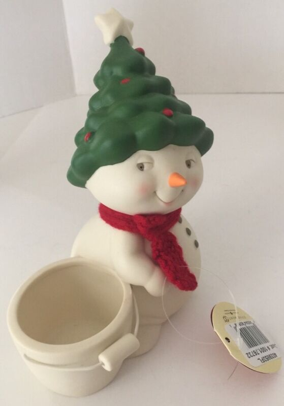 Snowpinion Snowman With Tree Hat & Treat Pail New Dept 56 Christmas Retired