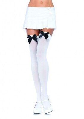 LA-6255 Sexy White Opaque Thigh High Stockings w/ Black Satin Bow Halloween Black Bow Stockings