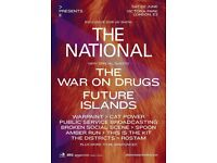 1 x All Points East; 2nd June, Victoria Park - The National, The War on Drugs, Future Islands & more