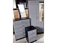Brand New 2 Door Wardrobe Sets Wardrobe with Mirror Chest of Drawers Bedside Cabinet