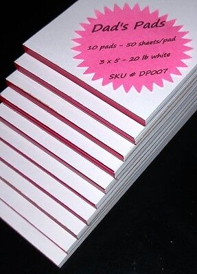 Dads Pads - 3 X 5 - Dp007 - 10 Pads 50 Sheets Per Pad - Memo Scratch Note