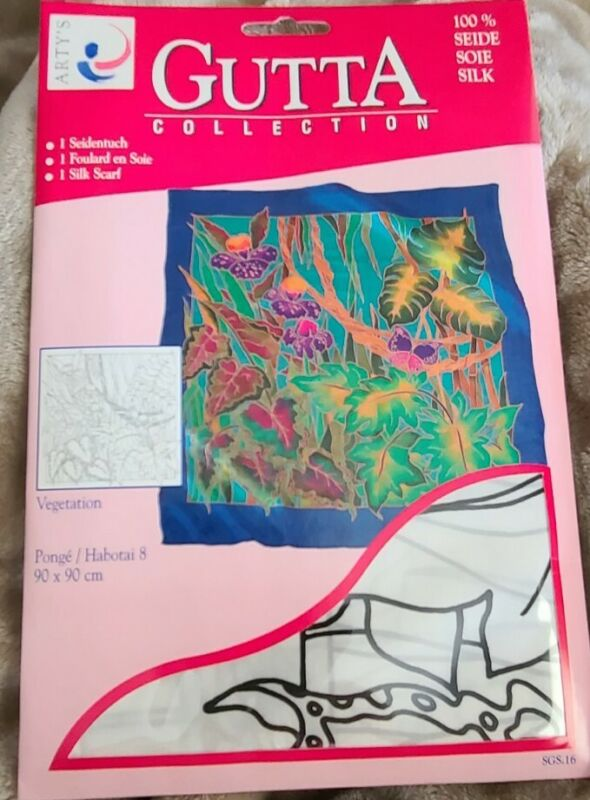 Artys Gutta Collection Silk Scarf Vegetation Painting Craft Floral  New
