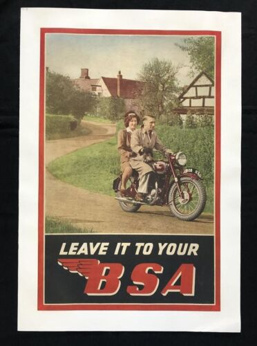 BSA MOTORCYCLES C11 1940s Original FACTORY SHOWROOM POSTER – NOT A Reproduction