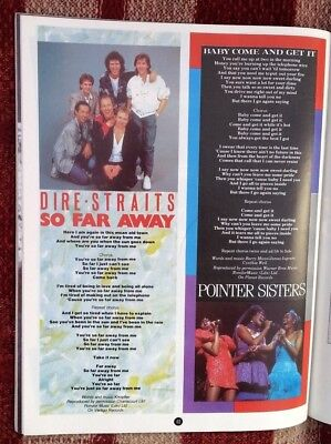 DIRE STRAITS POINTER SISTERS lyrics magazine PHOTO/Poster/clipping 11x8 inches
