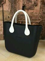 Borsa O Bag Grande Nera+manici Corti Eco Pelle Bianchi - bianchi - ebay.it
