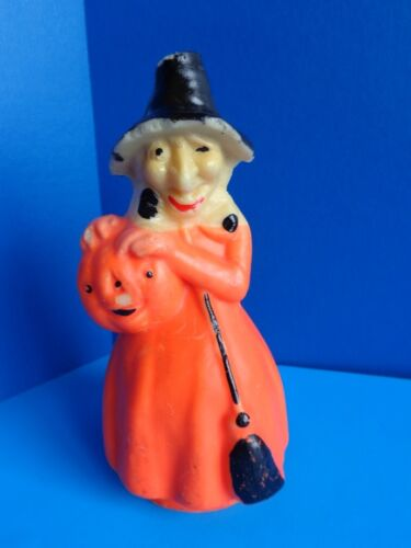 """VINTAGE 8"""" HALLOWEEN GURLEY WITCH CANDLE"""