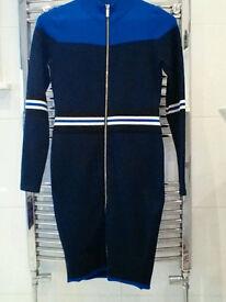 Designer Blue Stripe Dress Size 10