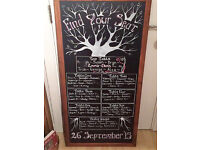 Large chalkboard - Wedding seating plan or cafe / restaurant sign - nautral and rustic/shabby chic