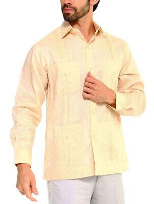 Men's Traditional Casual Guayabera Linen Long Sleeve Beach Summer Wedding Shirt