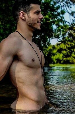 Shirtless Male Muscular Athletic Body Beefcake Skinny Dipper Guy PHOTO 4X6 F1363