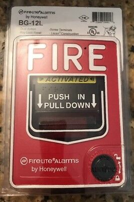 New Fire Lite Alarms Bg-12l Dual Action Pull Station With Key Lock