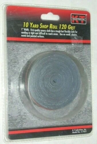 """KT Industries 5-7421 Emory Cloth Shop Roll 1"""" Wide x 10 Yards Long 120 Grit"""