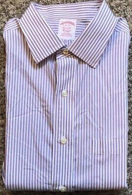 Brooks Brothers Lavender Striped Dress Shirt | Size 16 Neck, 33 Sleeve Length Dress Shirt Neck Size