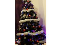 Christmas tree 7 ft black with grey glitter