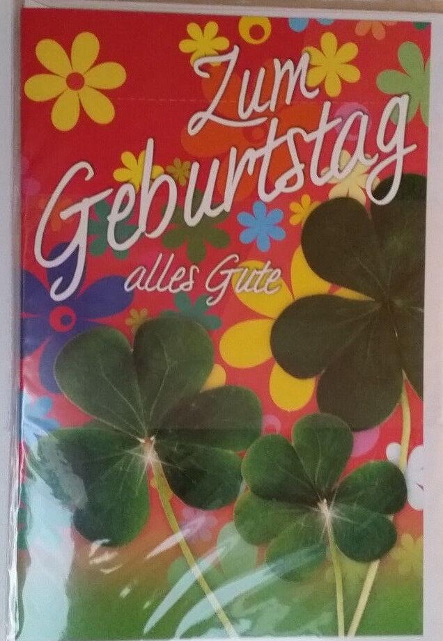 14 x Glückwunschkarte mit Umschlag Zum Geburtstag alles Gute Kleeblatt Blumen