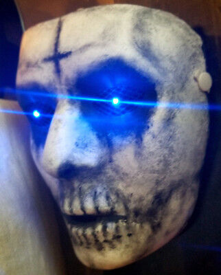 The Purge Anarchy Custom Painted Mask with Blue LED Eyes Handmade Prop Costume - Masquerade Custome
