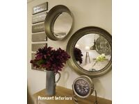 Large and small beaded silver wall mirrors priced individually