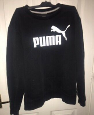 mens black puma spell out crew neck jumper/hoodie/sweater Medium!