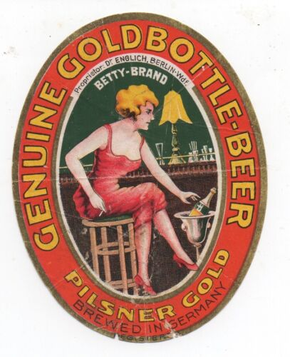 1920s Betty Brand Genuine Gold Bottled Beer Label from Germany with Pretty Lady