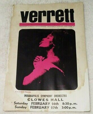 "Vintage Shirley Verrett Clowes Hall Butler University 20""x14"" window card poster"