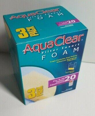 Hagen AQUACLEAR 20 FOAM FILTER INSERT Aquarium Fish 3 Pak