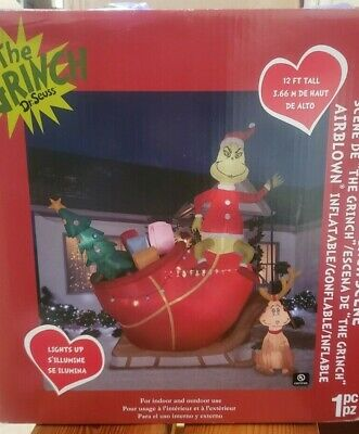 Gemmy 12ft Colossal Grinch with Max on Sleigh Christmas Inflatable