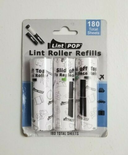 Lint POP Retractable Travel Size Lint Roller Refills (3-Pack, 180 Sheets) - NEW