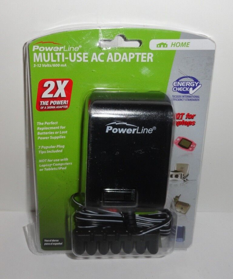 PowerLine Multi-Use AC Adapter 3-12Volts/600mA