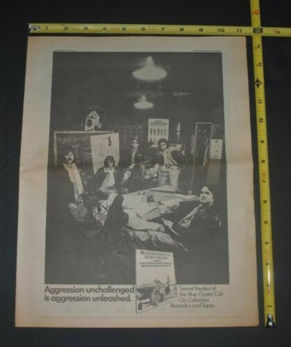 Blue Oyster Cult  Vintage 1974 Album Ad Secret Treaties
