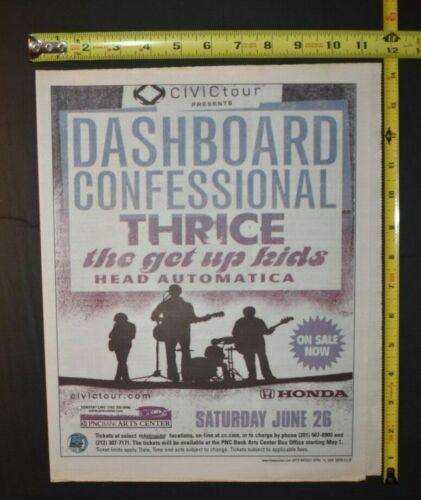 Dashboard Confessional 2004 Color Concert Ad PNC Bank Arts Center NJ