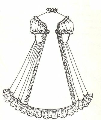 """Period French German Victorian Dress PATTERN for a 17"""" to 18"""" Doll"""