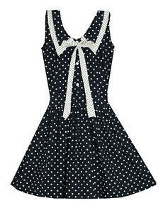 modcloth/francescas/topshop/bonne chance polka dot sailor peter pan collar dress