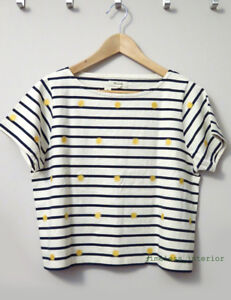 NEW Madewell Embroidered Sun Setlist Boxy Top Tee in Stripe size S Small NWT