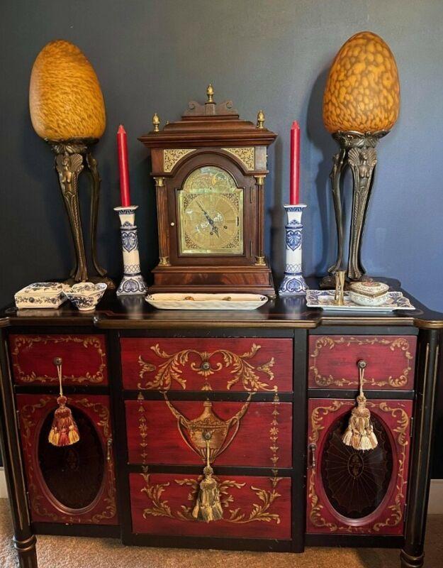 """Pair Of RARE Antique Art Nouveau Sculpture Figure Table Lamps, Blown Globes 28""""T"""